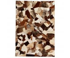 vidaXL Alfombra de retazos de cuero 120x170 cm aleatorio marrón/blanco