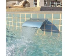 vidaXL Fuente de piscina de acero inoxidable plateada 30x9x26 cm