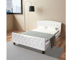 vidaXL Cama matrimonio con colchón viscoelástico 140x200 blanca