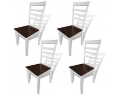 vidaXL Sillas de comedor 4 uds madera maciza caucho MDF blanco marrón