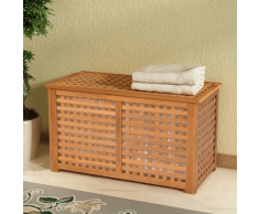 vidaXL Cesto para ropa sucia madera maciza nogal 77,5x37,5x46,5 cm