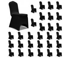 vidaXL Funda de silla elástica negra 30 unidades