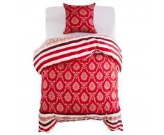 vidaXL Set de funda de edredón diseño a rayas rojo 155x220/80x80 cm