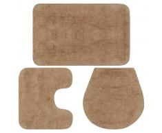 vidaXL Conjunto de alfombrillas de baño de tela 3 piezas beige