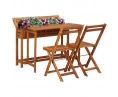 vidaXL Mesa de bistró con 2 sillas y jardinera madera maciza de acacia