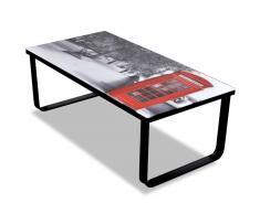 vidaXL Mesa de centro superficie de vidrio con foto de cabina inglesa