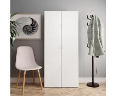 vidaXL Mueble zapatero aglomerado blanco y roble Sonoma 80x35,5x180 cm