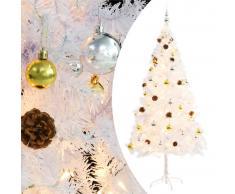5a15f5ffd4d vidaXL Árbol Navidad artificial decorado bolas luces LED 180 cm blanco