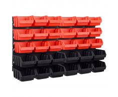 vidaXL Kit de cajas de almacenaje 32 pzas paneles de pared rojo negro