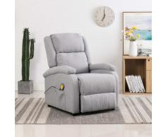 vidaXL Sillón de masaje reclinable de tela gris claro