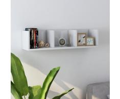 vidaXL Estante de pared para CD aglomerado blanco brillante 75x18x18cm