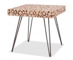 vidaXL Mesa auxiliar genuina de madera 47x47x44,5 cm