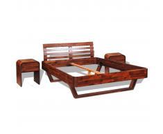 vidaXL Estructura de cama 2 mesitas madera maciza de acacia 140x200 cm