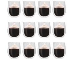 vidaXL Vasos de cristal térmico doble pared para té 12 uds 320 ml