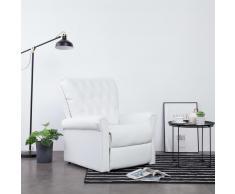 vidaXL Sillón reclinable de cuero sintético blanco