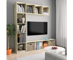vidaXL Armario TV/estantería libros 3 pzas roble Sonoma 180x30x180 cm