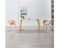 vidaXL Silla de comedor de madera curvada y cuero sintético crema