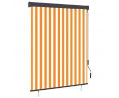 vidaXL Estor enrollable de exterior blanco y naranja 140x250 cm