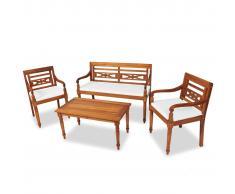 vidaXL Set de muebles de jardín 4 pzas y cojines madera maciza de teca
