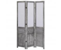 vidaXL Biombo de 3 paneles tela gris 105x165 cm