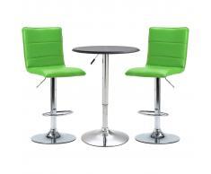vidaXL Set mesa alta y taburetes de barra 3 pzas cuero sintético negro