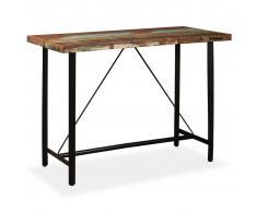vidaXL Mesa alta de bar de madera maciza reciclada 150x70x107 cm