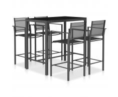 vidaXL Set mesa y sillas altas cocina 5 pzas textilene gris antracita