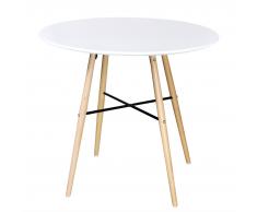 vidaXL Mesa de comedor redonda, color blanco mate