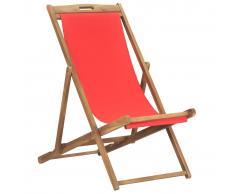 vidaXL Silla de playa plegable de madera maciza de teca roja