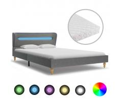 vidaXL Cama con LED y colchón tela gris claro 120x200 cm