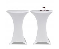 vidaXL 2 Manteles blancos ajustados para mesa de pie - 80 cm diámetro