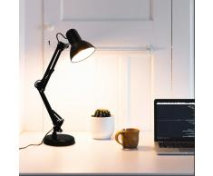 vidaXL Lámpara de escritorio con brazo ajustable negro E27