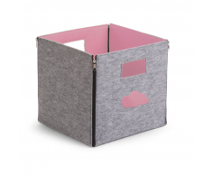 CHILDWOOD Caja de almacenaje plegable nube gris rosa CCFSBSP