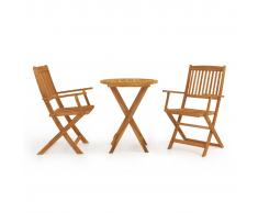 vidaXL Mesa y sillas bistró plegables 3 pzas madera maciza de acacia