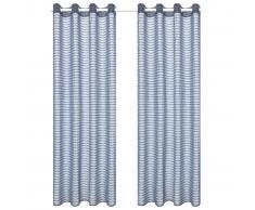 vidaXL Visillo de tejido a rayas 2 piezas gris acero 140x175 cm