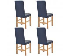 vidaXL Funda elástica para silla 4 unidades de ante azul marino