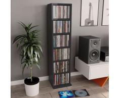 vidaXL Estantería para CDs de aglomerado negro brillante 21x16x88 cm