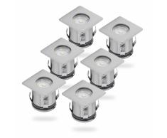 SMARTWARES Foco LED de tierra 6 piezas cromo 5000.476
