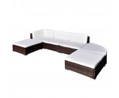 vidaXL Conjunto de muebles exterior 16 piezas marrón poli ratán