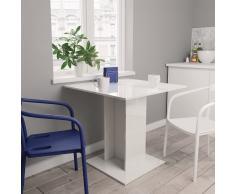 vidaXL Mesa de comedor de aglomerado blanco brillante 80x80x75 cm