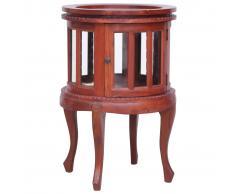 vidaXL Armario vitrina de madera maciza de caoba marrón 50x50x76 cm
