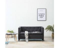 vidaXL Sofá Chesterfield de 2 plazas con tapizado de tela gris oscuro