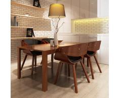 vidaXL Sillas de comedor 4 uds madera curvada piel sintética marrón