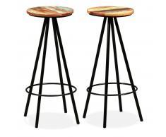 vidaXL Taburetes de bar 2 uds madera maciza reciclada y acero
