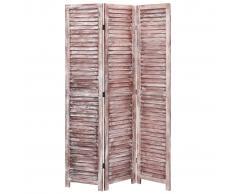 vidaXL Biombo de 3 paneles madera marrón 105x165 cm