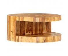 vidaXL Mesa de centro redonda madera maciza de sheesham 65x30 cm