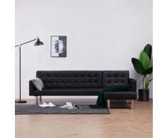 vidaXL Sofá cama en forma de L cuero sintético negro