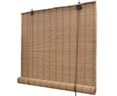 vidaXL Persiana enrollable de bambú marrón 100x220 cm