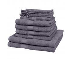 vidaXL Juego de toallas 12 piezas algodón 500 gsm antracita