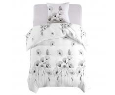 vidaXL Set funda de edredón diseño floral blanco 135x200/80x80 cm
